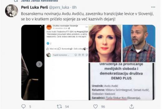 BH novinari: Protestno pismo premijeru Slovenije zbog Twitter objave o Avdi Avdiću