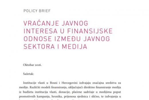 Vraćanje javnog interesa u finansijske odnose između javnog sektora i medija